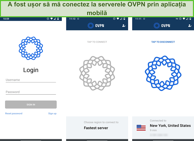 Captură de ecran a procesului de conectare OVPN pe mobil