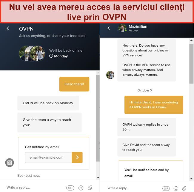 Captură de ecran a asistenței de chat live limitate pentru OVPN