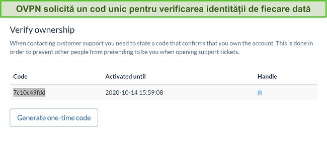 Captură de ecran a codului unic OVPN pentru a verifica identitatea în timpul procesului de anulare a abonamentului