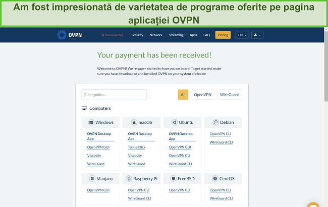 Captură de ecran a opțiunilor aplicației OVPN