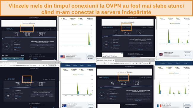 Captură de ecran a 4 teste de viteză în timp ce sunteți conectat la OVPN
