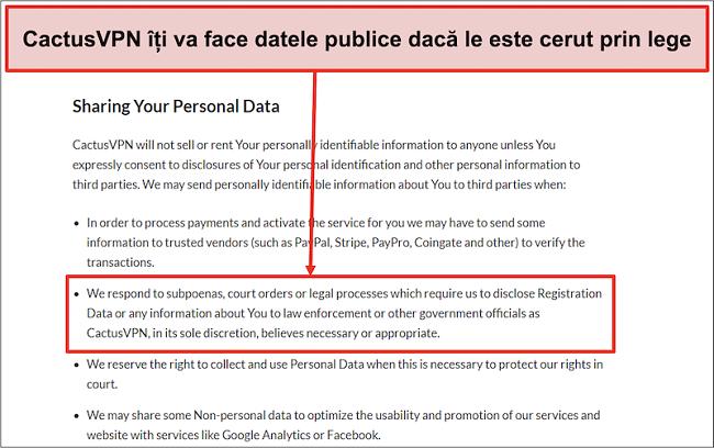 Captură de ecran a politicii de confidențialitate a CactusVPN care arată că vă vor preda datele