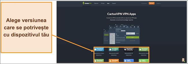 Captură de ecran care arată de unde descărcați versiunea de CactusVPN pe care o doriți de pe site-ul său web