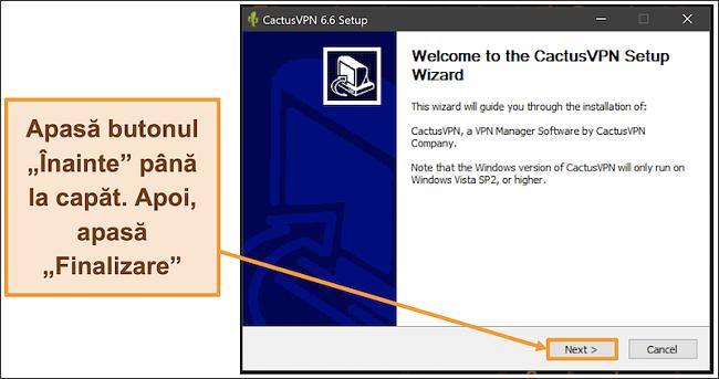 Captură de ecran care arată cum se instalează CactusVPN folosind expertul său de instalare