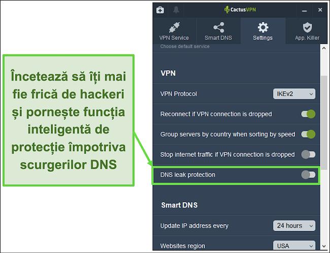 Captură de ecran care arată cum se activează protecția împotriva scurgerilor DNS