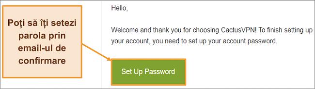 Captură de ecran care arată e-mailul de confirmare de la CactusVPN pentru a crea o parolă pentru contul dvs.