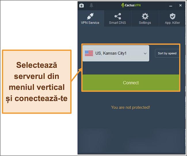 Captură de ecran a interfeței CactusVPN care afișează meniul derulant de selectare a serverului