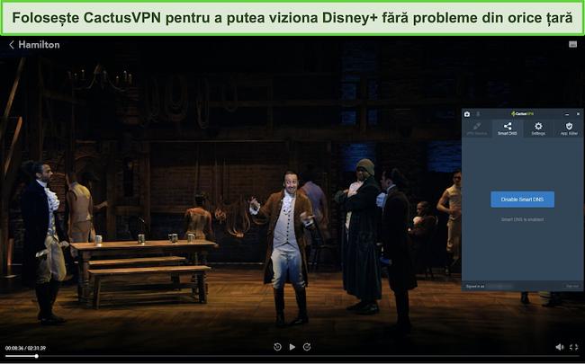 Captură de ecran a difuzării cu succes a lui Hamilton pe Disney + cu CactusVPN conectat