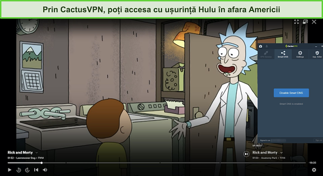 Captură de ecran a lui Rick și Morty în flux cu succes pe Hulu cu CactusVPN conectat
