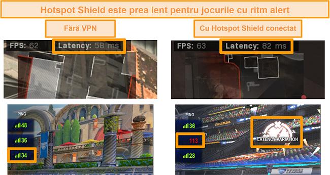 Captură de ecran a Call of Duty: Modern Warfare și Rocket League testate pentru creșterea latenței atunci când este conectat la Hotspot Shield VPN pe PC.