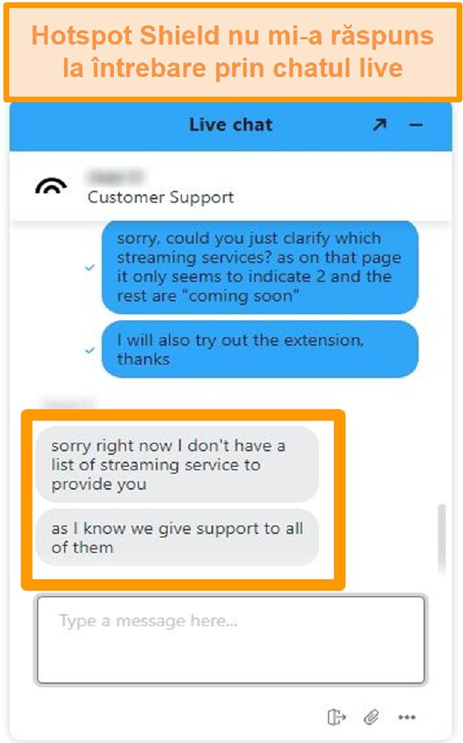 Captură de ecran a unui agent de chat live Hotspot Shield care nu poate răspunde la întrebarea mea