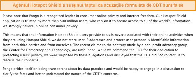 Captură de ecran a răspunsului prin e-mail al Hotspot Shield atunci când a fost întrebat despre incidentul din 2017 care implică CDT depunerea unei reclamații la FTC cu privire la practicile de colectare a datelor ale Hotspot Shield.