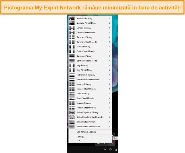 Captură de ecran a My Expat Network Interface