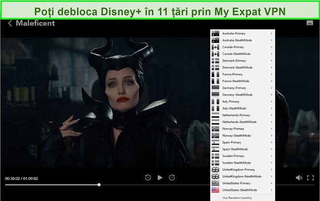 Captură de ecran a My Expat Network care deblochează Disney + SUA