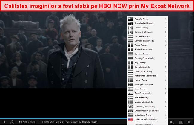 Captură de ecran a rețelei mele de expatriți deblocând HBO NOW