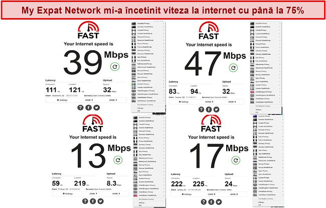 Captură de ecran a testelor de viteză My Expat Network pe diferite servere
