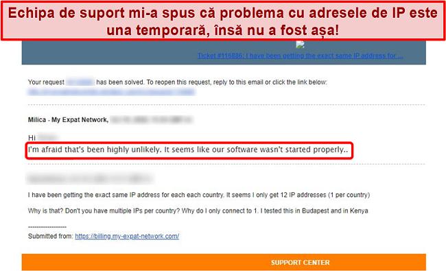 Captură de ecran a răspunsului e-mail My Expat Network care oferă o explicație pentru o problemă de adresă IP