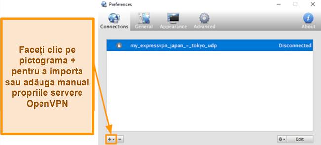 Captură de ecran a aplicației Viscosity care arată cum să adăugați servere OpenVPN