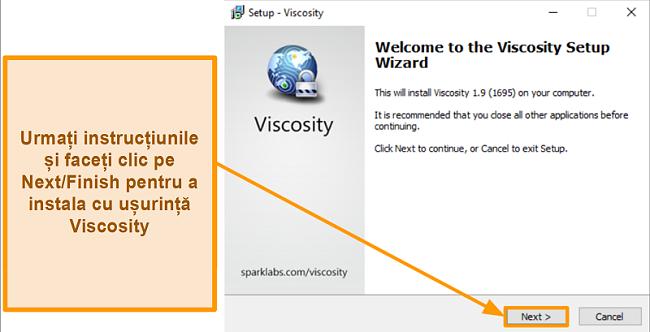 Captură de ecran a Viscosity setup wizard pentru a instala aplicația