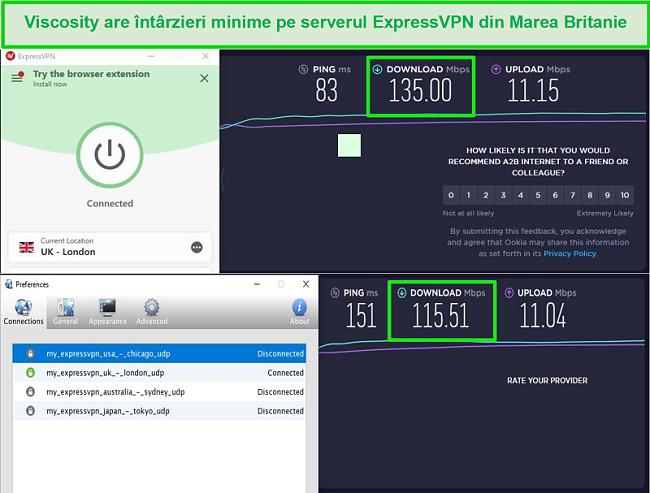 Captură de ecran a rezultatelor testului de viteză în timp ce sunteți conectat la serverele Express VPN din Marea Britanie atât prin Viscosity, cât și prin ExpressVPN