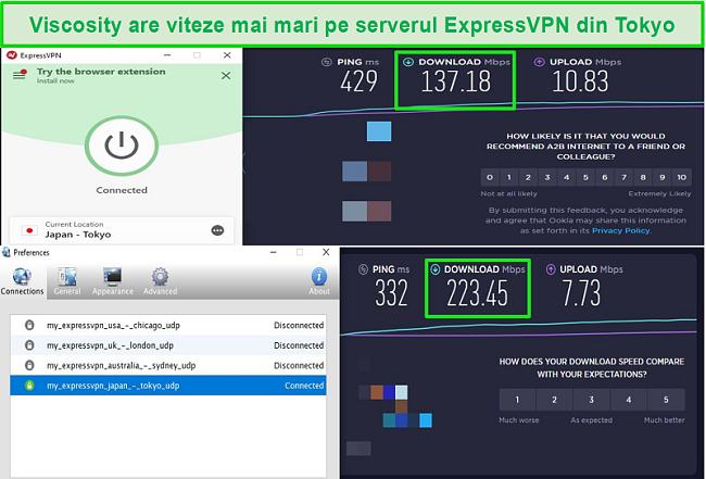 Captură de ecran a rezultatelor testului de viteză în timp ce sunteți conectat la serverele Express VPN din Japonia, atât prin Viscosity, cât și prin ExpressVPN