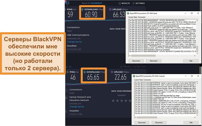 Скриншот 2 тестов скорости при подключении к серверам BlackVPN в США