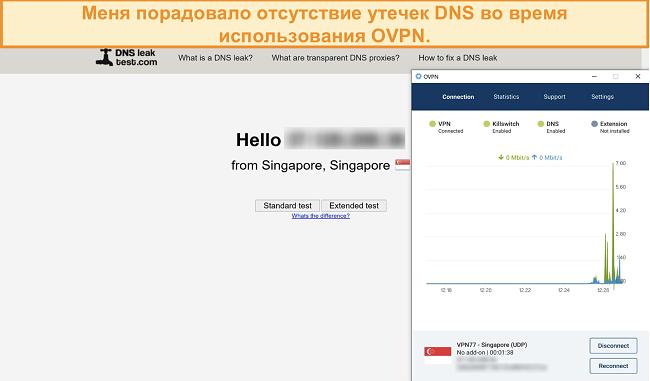 Скриншот OVPN, прошедшего проверку на утечку DNS