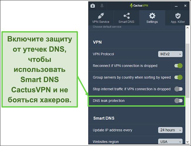 Снимок экрана, показывающий, как включить защиту от утечки DNS