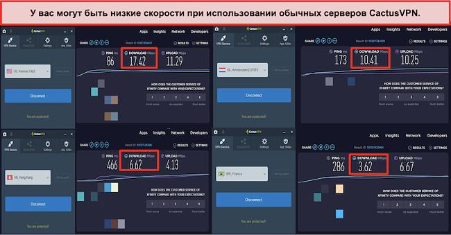 Снимок экрана с медленными скоростями на обычных серверах CactusVPN