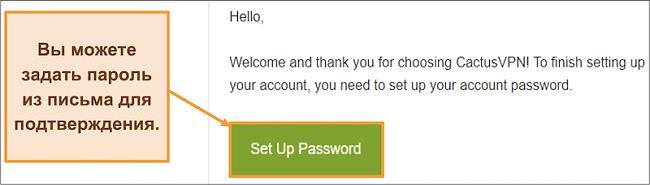 Снимок экрана, показывающий электронное письмо с подтверждением от CactusVPN для создания пароля для вашей учетной записи