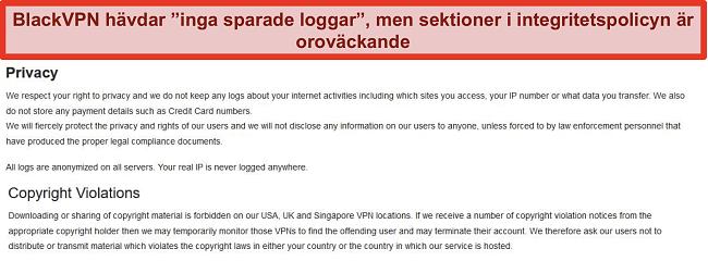 Skärmdump av sektionerna Sekretess och upphovsrättsintrång i BlackVPNs användarvillkor