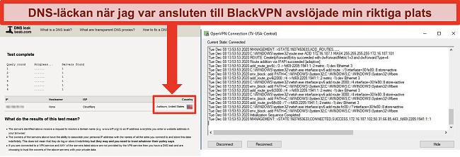 Skärmdump av ett misslyckat DNS-läckagetest medan BlackVPN är ansluten till en server i USA