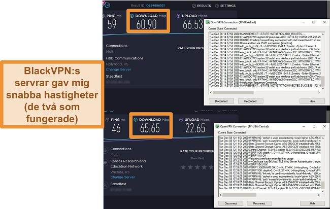 Skärmdump av två hastighetstester när du är ansluten till BlackVPN-servrar i USA