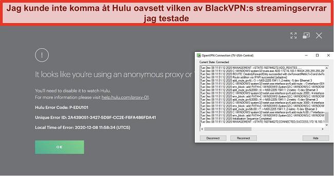 Skärmdump av Hulus proxy-IP-fel medan BlackVPN är ansluten via OpenVPN