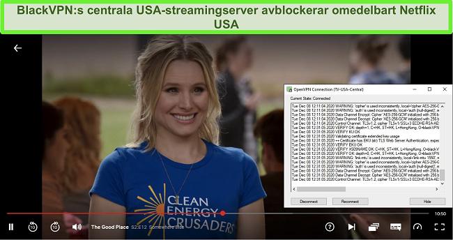 Skärmdump av The Good Place på Netflix medan BlackVPN är ansluten till den amerikanska centrala streamingservern via OpenVPN-klienten