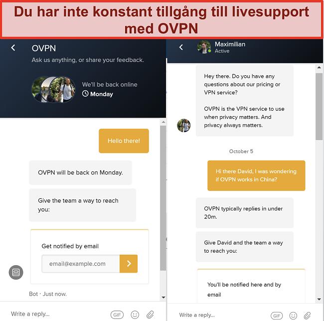 Skärmdump av begränsat livechattstöd för OVPN