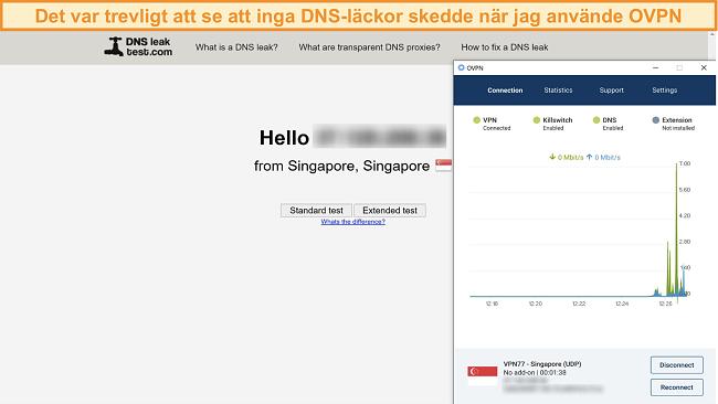 Skärmdump av OVPN som klarar ett DNS-läckagetest