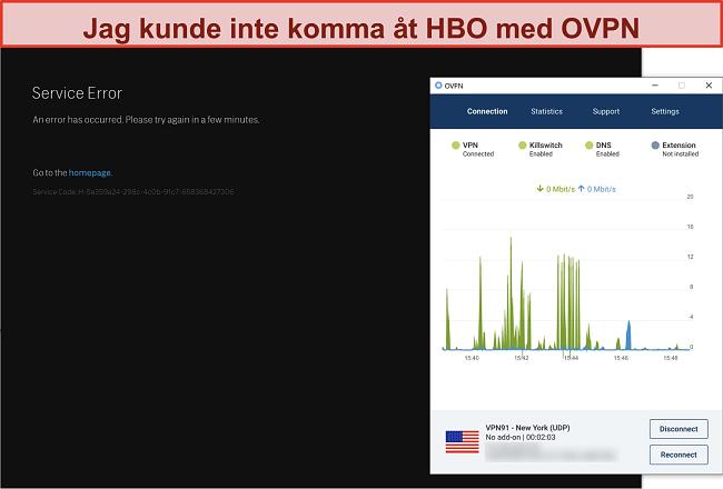 Skärmdump av OVPN som blockeras av HBO