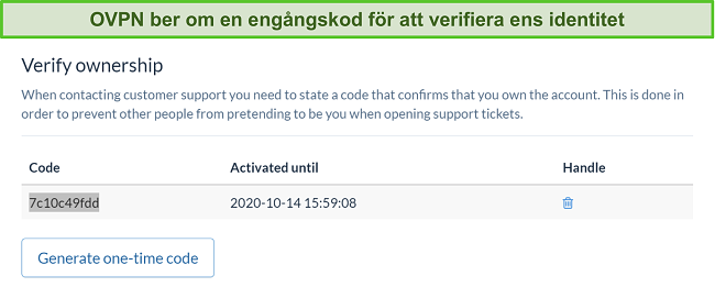 Skärmdump av OVPNs engångskod för att verifiera identitet under prenumerationsavbrottet