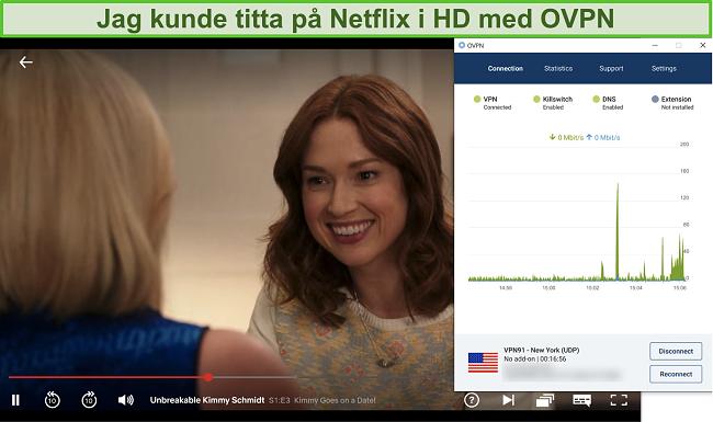 Skärmdump av OVPN som avblockerar Netflix