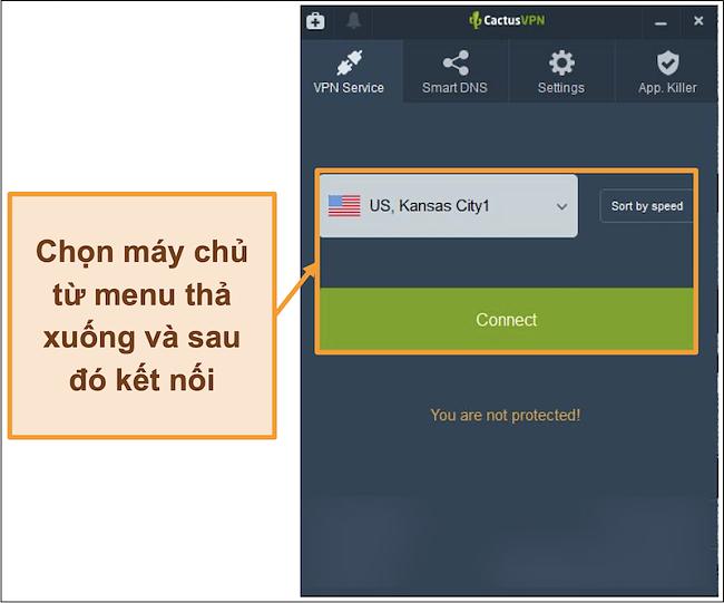 Ảnh chụp màn hình giao diện CactusVPN hiển thị menu thả xuống lựa chọn máy chủ