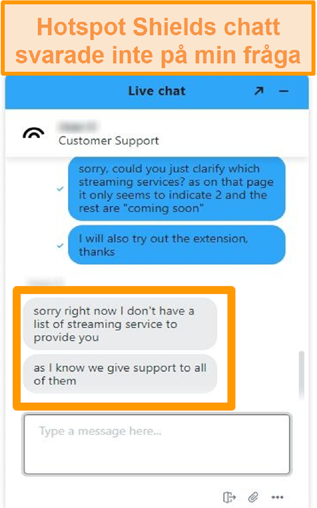 Skärmdump av en Hotspot Shield-chattagent som inte kan svara på min fråga