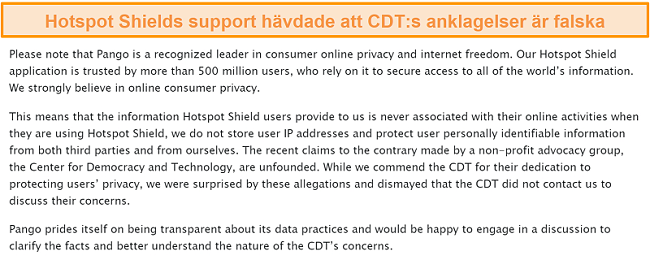 Skärmdump av Hotspot Shields e-postsvar när han tillfrågades om 2017 års incident där CDT lämnade in ett klagomål till FTC om Hotspot Shields datainsamlingsmetoder.