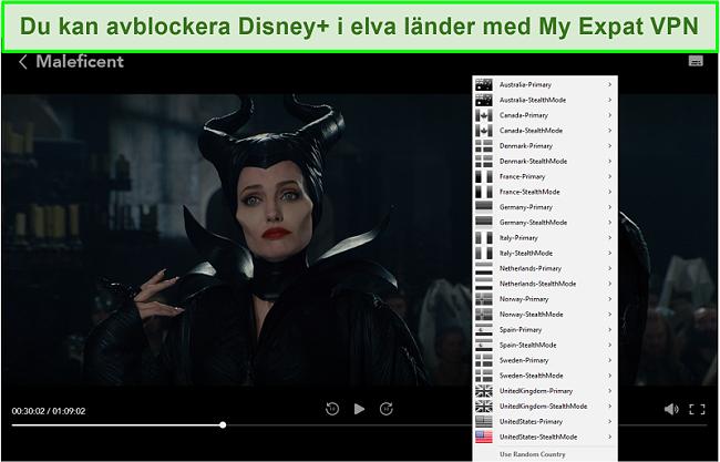 Skärmdump av My Expat Network som avblockerar Disney + US