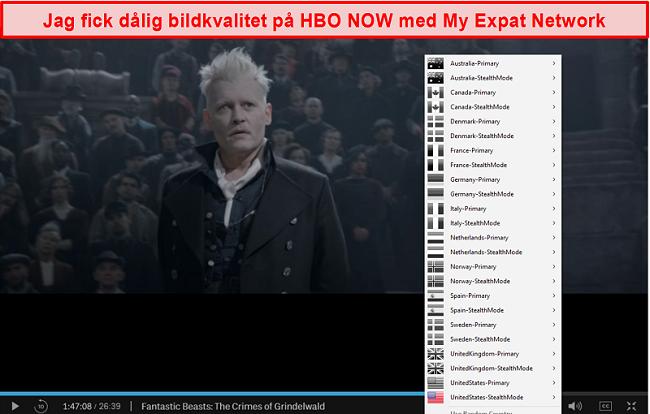 Skärmdump av My Expat Network avblockerar HBO NU