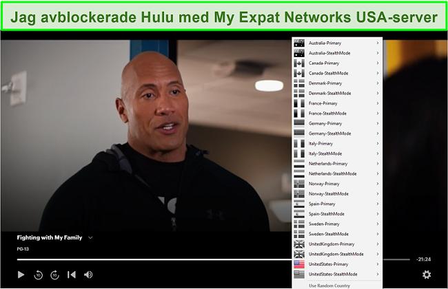 Skärmdump av My Expat Network som avblockerar Hulu