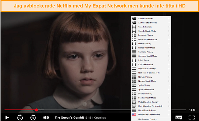 Skärmdump av My Expat Networking som avblockerar Netflix US