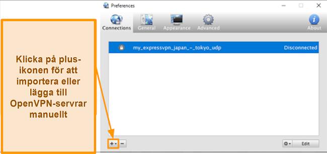 Skärmdump av Viscosity-appen som visar hur man lägger till OpenVPN-servrar