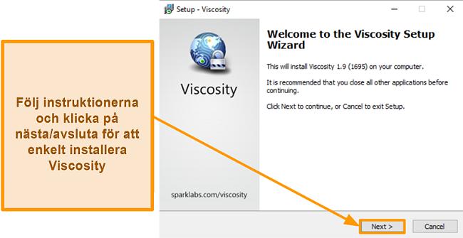 Skärmdump av installationsguiden för viskositet för att installera appen