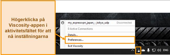 Skärmdump som visar hur du öppnar inställningsmenyn i Viskositet genom verktygsfältikonen